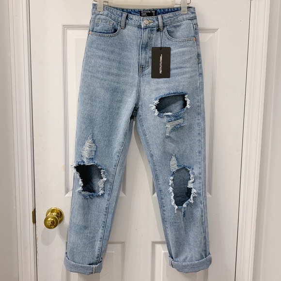 Light Wash Distressed Straight Leg Jean